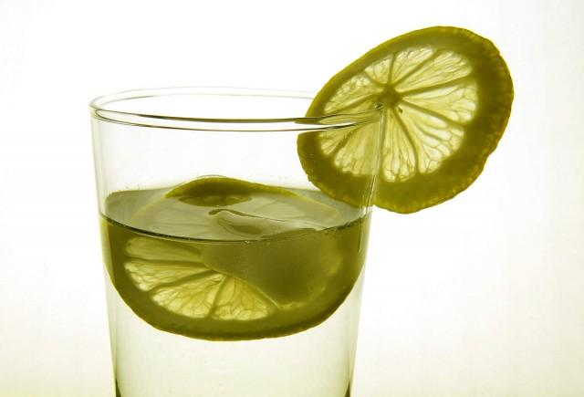Lemon in glass
